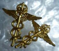 RAF Royal Air Force Medical Services Corps COLLAR Badge KC Brass GAUNT - ANTIQUE