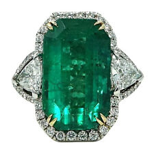 925 Two Toned Silver 34.00 Carat Emerald & Trillion Cut Cubic Zirconia Fine Ring