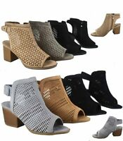 Women's  Peep Toe Perforated Chunky Heeled Ankle Booties Sandal Various Size NEW