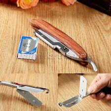 Men's Folding Razor Wood Handle Straight Edge Barber Shaving Knife & Blades