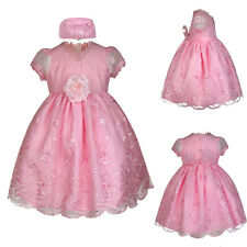 Baby Infant Toddler Girl Pageant Wedding Formal Pink Party Flower Dress sz 0-36M