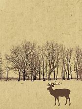 DEER ILLUSTRATION TREES BEIGE BROWN PHOTO ART PRINT POSTER PICTURE BMP800A
