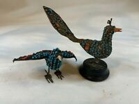 Vintage Brass Wire Filigree Birds Figurine Turquoise and Coral Glass e780