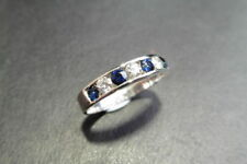 Sapphire and diamond eternity band ring set,9ct White Gold,natural Stones,
