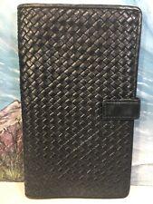 L'AIGLON vintage Black leather wallet clutch Organizer Made In France 7.5x4.5