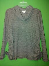 0171) J JILL Petite Large gray pullover cotton sweater ruched sides cowl neck PL