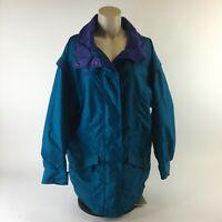 Columbia Sportswear Windbreaker Jacket Full Zip Snaps Logo Teal Purple Womens M