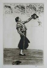 THE MATADOR, BULLFIGHTER : JAMES McBEY 1924 Print of an Etching