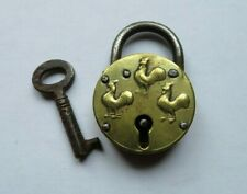 Unusual Small Antique Brass Padlock & Key Chicken / Cockerel Design Poultry