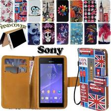 Folio Leather Stand Card Wallet Cover Case For Sony Ericsson Phones + HandStrap