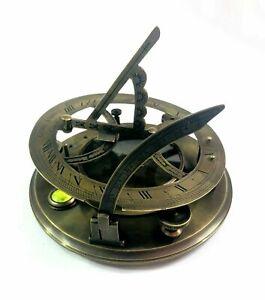 """Gilbert & Sons London Pocket Sundial Maritime Antique Brass Nautical Compass 4"""""""