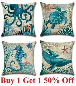 "Ocean Coastal Throw PILLOW COVER Teal Blue Linen Decorative Cushion Case 18x18"""