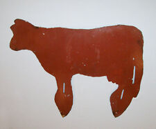 "Old Vtg 1960s Steel Folk Art Silhouette of Cow or Calf 19"" X 22"" Lawn Decoration"