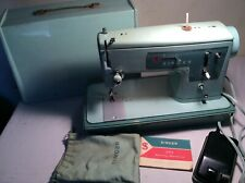 Vintage 1960s Singer Model 337 Sewing Machine Turquoise Blue W/Pedal Free Ship