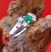Zauberhafter Smaragd Brillant Damen Ring in 585 Weißgold