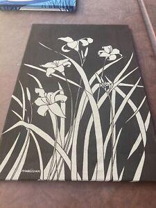 "Vintage 1970s Linen Textile Fabric Lilies Art Screen Print Marushka  24""x 36"""