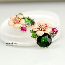 Bridal Earrings CLIP ON Big Studs Flower Pink Enamel Green Emerald Class L2