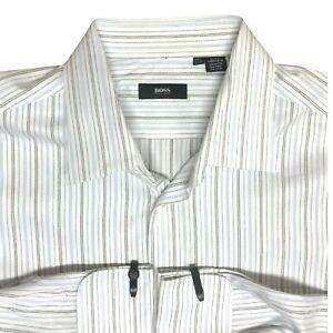 Hugo Boss Men White Striped French Cufflink  Collared Dress Shirt Sz17.5 36 / 37