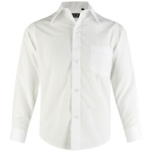 Boys WHITE Plain Shirt Long Sleeves Smart Formal Party Wedding 1-15 Years (203)