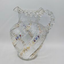 Atq Victorian Crimped Glass Hand Painted Floral Enamel Pitcher Applied Handle