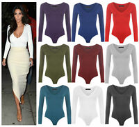 Womens Long Sleeve Plunge V Neck Bodysuit Ladies Stretchy Plain Leotard Tops