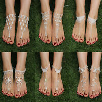 New Women's Crystal Beach Barefoot Sandals Foot Toe Ring Ankle Bracelet Jewelry