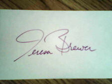 TERESA BREWER Vintage Hand signed 3x5 Index card !   With COA!