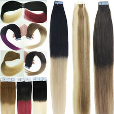 Tape in Skin Weft 100%Remy Human Hair Extensions Balayage Ombre Dip Dye T Colors
