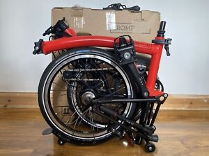 Brompton M6L Rocket Red Black Edition Folding Bicycle With Battery Light