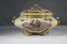 FAIENCE DE LANGEAIS ANCIENNE BELLE GRANDE SOUPIERE DECOR FRUITS SCENES VILLAGES