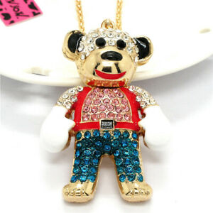 Cute Rhinestone Color Boxing Bear Crystal Pendant Betsey Johnson Chain Necklace