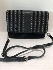 Michael Kors Brooklyn Grommet Leather Suede Crossbody Bag Black Purse
