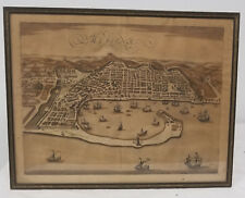 Antique Hand Colored Map Woodblock Engraving Print Messina Harbor Italy Sicily