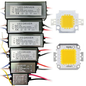 Chip LED Driver Transformateur Adaptateur COB 100W/50/20/10W Alimentation Pilote