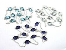 Plated 3 Pcs Chain Amethyst,Blue Topaz,White Topaz Quartz Silver