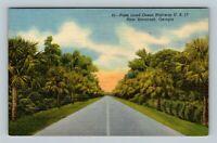 Savannah GA, Palm Tree Lined U.S Highway 17, Linen Georgia, Postcard