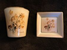 Berta HUMMEL Gallery Daffodils and Anemones Votive & Mini Square Plate 2 Pc Set
