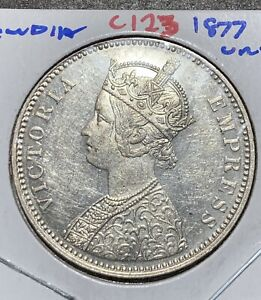 BRITISH INDIA 1877 VICTORIA EMPRESS DOT VARIETY ONE RUPEE SILVER COIN UNC Beauty