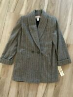Westbound Womens Pea Coat Black White Herringbone Button Lined Collared 14 New