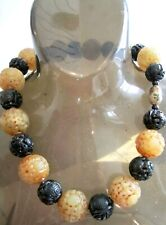 VINTAGE old 25mm carved CHINESE SHOU beads YELLOW JADE ONYX cloisonne NECKLACE