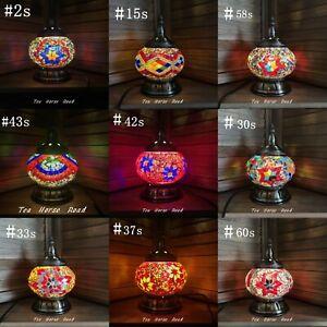 Turkish Lamp RED MULTICOLOURED Glass Lamp Mosaic Light Handmade Brass Free LED