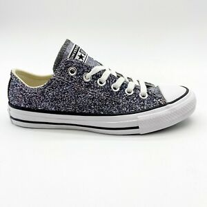 Converse Chuck Taylor All Star Ox Glitter Silver Womens Sneakers 566271C