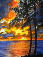 Watercolor Painting Ocean Sunset Beach Palm Trees Florida Nature ACEO Art .