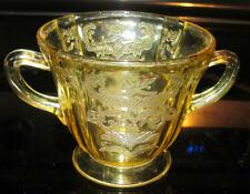 Madrid Amber Yellow Depression Glass Sugar Bowl