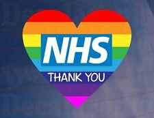 Car Sticker THANK YOU NHS Heart Rainbow Novelty Van House Window Door Decal
