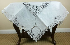"White Vintage Cotton Handmade Embroidered Battenburg Lace 36"" Square Tablecloth"