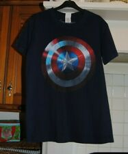 "UNISEX NAVY BLUE AVENGERS CAPTAIN AMERICA SHEILD T SHIRT MENS SMALL - 34"" CHEST"