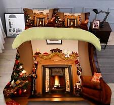 3D Fireplace Pattern N487 Christmas Quilt Duvet Cover Xmas Bed Pillowcases Fay