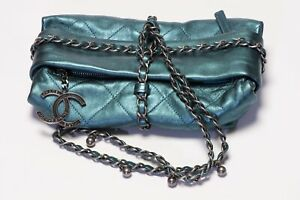 CHANEL Paris 2012 Turquoise Green Quilted Leather CC Wrap Chain Women's Bag