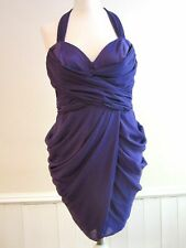 Lipsy Chiffon Cocktail Dress 14 Frill Tulip Bubble Layered Halter Purple